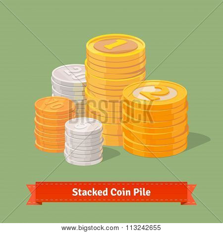 Stacked pile of coins. Gold, silver and copper