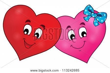 Two overlapping stylized hearts theme 1 - eps10 vector illustration.