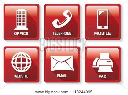 Red And White Business Contact Method Vector Icon Button Set