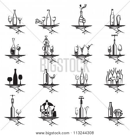 restaurant icons set with tray of drink in hand