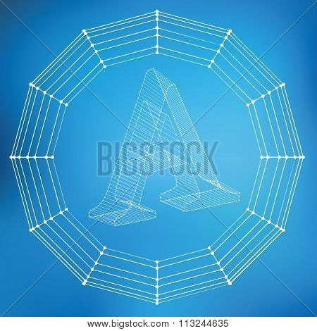 Vector illustration of letter A. Fonts of Mesh polygonal. The structural grid of polygons. Abstract