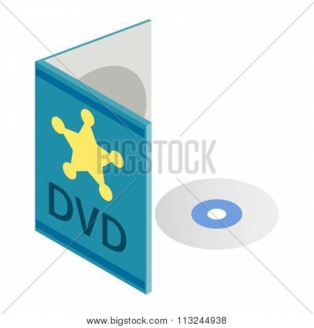 DVD disk with box isometric 3d icon