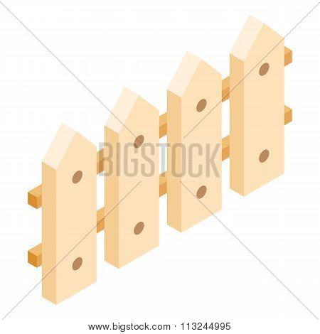Wooden fence isometric 3d icon