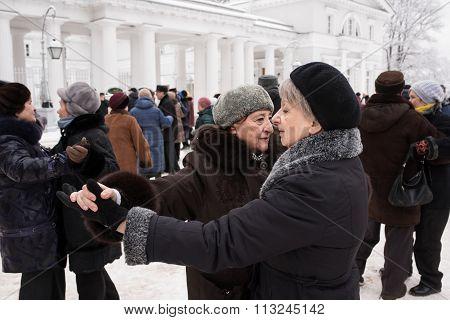 Couple  Elderly Women Are Dancing .