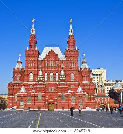 MOSCOW - MARCH 10 2012:State Historical museum - architecture landmark of beginning of XX century and Red square.
