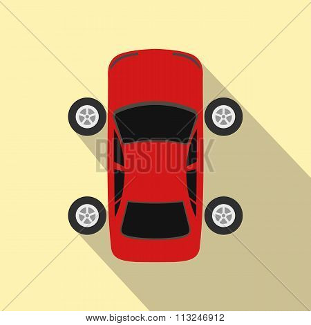 Repair car wheel flat icon with shadow