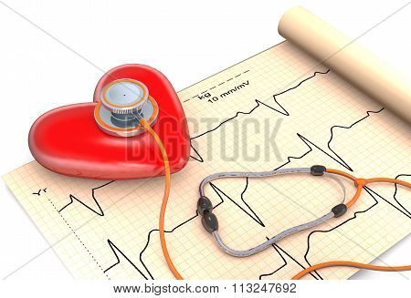 Stethoscope, Paper, Cardiogram And Heart.