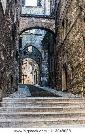 Old Street In Narni, A Medieval Italian City