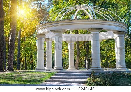 Beautiful Gazebo In Autumn Park