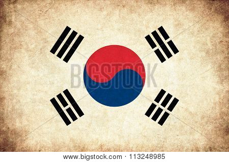 South Korea Grunge Flag Illustration Of Asian Country