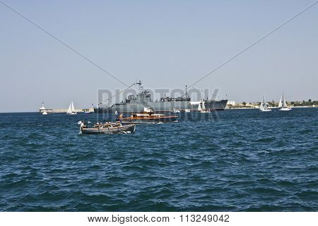 Big Military Ship And Little Boats, Sevastopol