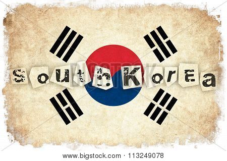 South Korea Grunge Flag Illustration Of Asian Country With Text