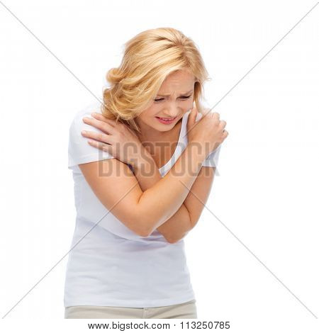 unhappy woman suffering from pain or violence