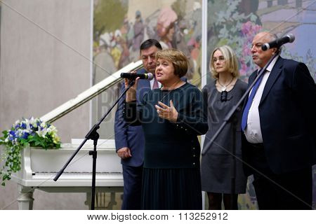 ST. PETERSBURG, RUSSIA - OCTOBER 22, 2015: Deputy director of Russian Museum Evgenia Petrova delivers the opening remarks at the exhibition of Pavel Fedotov, 1815-1852, in the Russian Museum