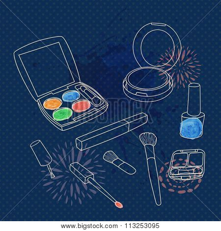 Vector Make Up Set With Brushes, Eyeshadow Palette, Face Powder, Nail Polish And Watercolor Splash.