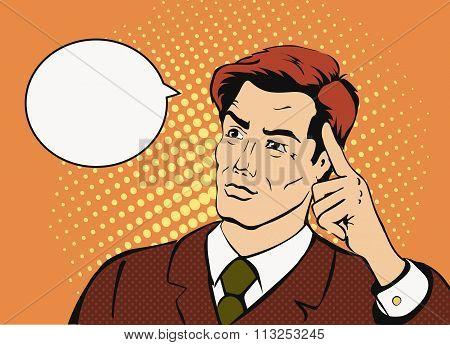 Thinking businessman   with a speech bubble. Comic style  successful man.  Pop art retro vector.