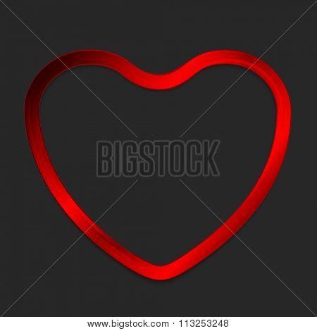 Red metal glow heart on dark background. Vector design