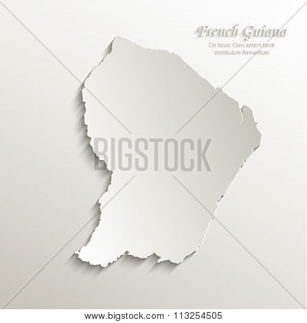 French Guiana map card paper 3D natural vector