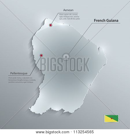 French Guiana map flag glass card paper 3D vector