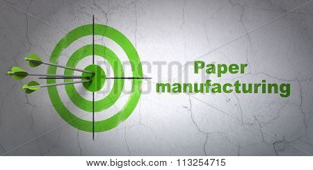 Industry concept: target and Paper Manufacturing on wall background