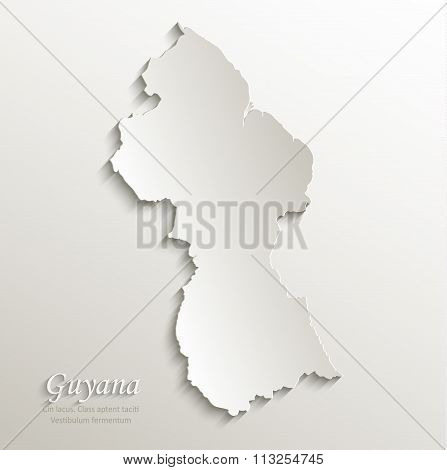 Guyana map card paper 3D natural vector