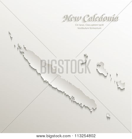New Caledonia map card paper 3D natural vector
