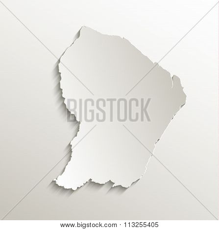 French Guiana map card paper 3D natural raster