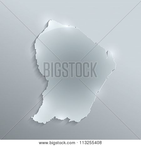 French Guiana map glass card paper 3D raster