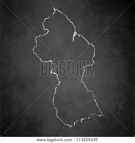 Guyana map blackboard chalkboard raster