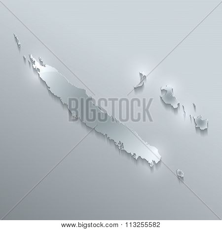 New Caledonia map glass card paper 3D raster
