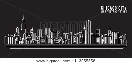 Cityscape Building Line Art Vector Illustration Design - Chicago City