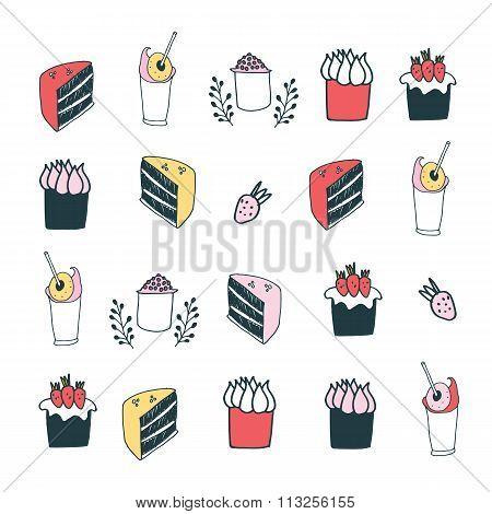 Delicious Food Desserts Set Cake Muffin Cupcake Strawberry Milkshake Drinks