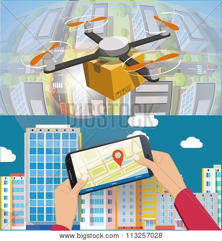 Concept for delivery service. Delivery drone with the package over town. And remote contriol by smartphone.