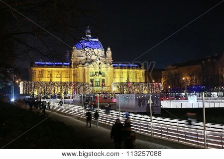 Art Pavilion At Advent Time In Zagreb
