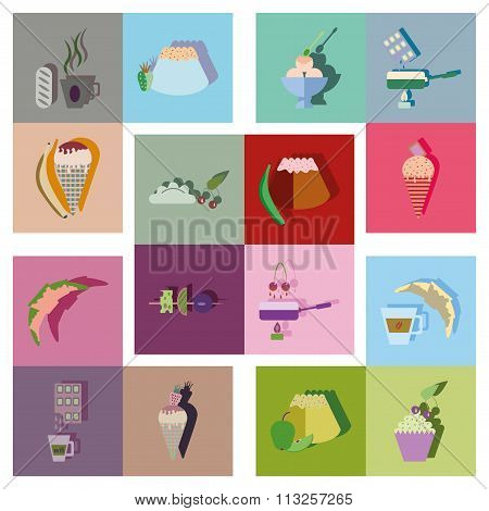 Modern flat icons vector collection with shadow sweet fastfood