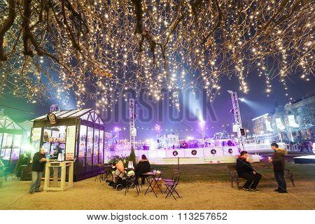 Illuminated Treetop At Advent Time