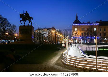 King Tomislav Park In Zagreb At Advent