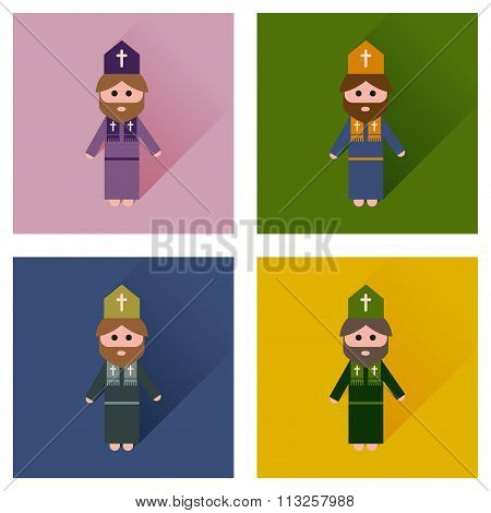 Concept of flat icons with long shadow Christian priest