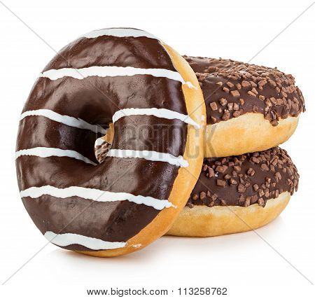 Big Tasty Appetizing Donuts Isolated Close-up On A White Background.