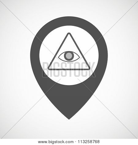 Isolated Map Marker With An All Seeing Eye
