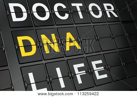 Healthcare concept: DNA on airport board background