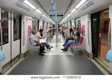 Interior Of Downtown Line Mrt Train
