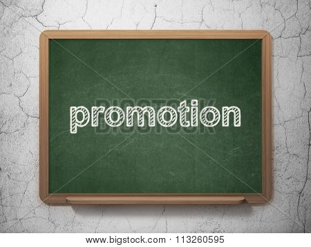 Advertising concept: Promotion on chalkboard background