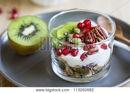 Granola With Yogurt ,kiwi And Pomegranate