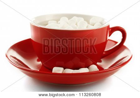 Mug of hot chocolate with marshmallows, isolated on white