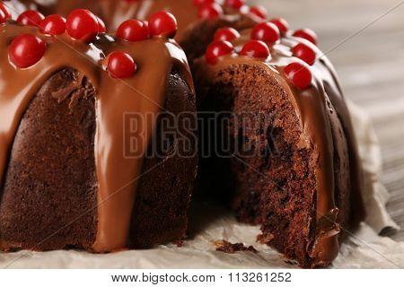 Chocolate cake with snowball tree berries closeup