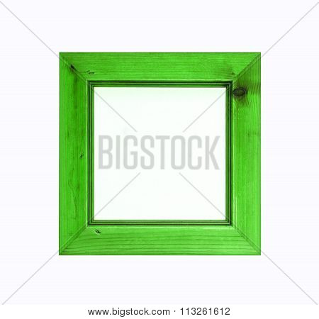 Bright Green Square Wooden Picture Frame Isolated On White Background.