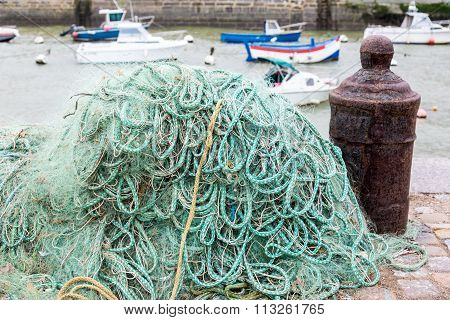 Fishing Nets On Dock Port