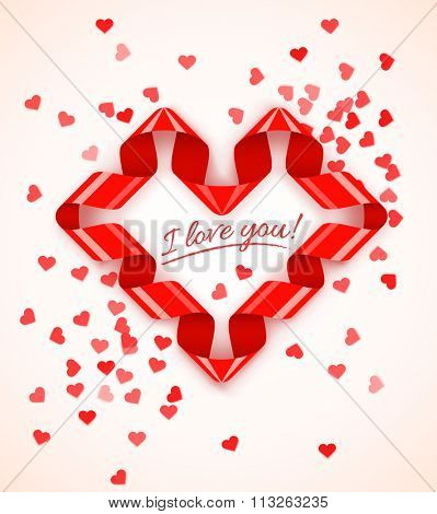 Heart symbol frame of red spiral ribbon with hearts confetti for Saint Valentines Day. vector illustration. Transparent objects used for lights and shadows drawing.