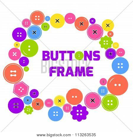 Cute frame made with colorful clothes buttons